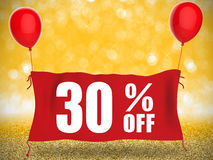 30% off banner. On red cloth with red balloons Royalty Free Stock Photo