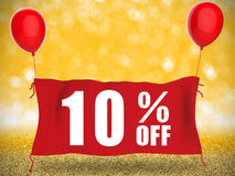 10%off banner on red cloth with red balloons. On gold background stock illustration
