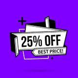 25% off banner template in black and white style. On bright purple background Royalty Free Stock Image