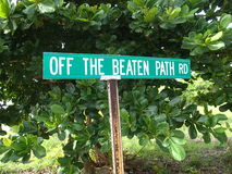 Off The Beaten Path Road sign Stock Photography
