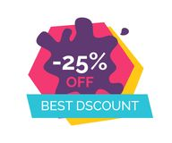 -25 Off Best Discount Label Vector Illustration Stock Photos