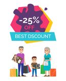 -25 Off Best Discount Placard Vector Illustration Royalty Free Stock Images