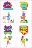 -25 Off Best Discount Banners Vector Illustration. 25 off best discount and special promotion -80 off, banners depicting people with bags and presents vector Royalty Free Stock Photos