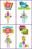 -70 Off Best Sale Collection Vector Illustration. 70 off best sale collection of posters representing women and family in process of shopping, bags and presents royalty free illustration