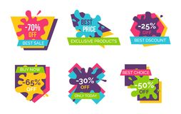 -70 Off Best Sale Stickers Vector Illustration. 70 off best sale, exclusive products and discounts only today, set of stickers representing shapes and bolts and Royalty Free Stock Photography
