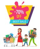 -70 Off Best Sale Poster Vector Illustration. 70 off best sale, poster depicting headline, woman with cart wearing red dress, boy and man with bags on vector Stock Images