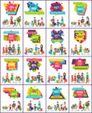-70 Off Best Sale Posters Vector Illustration. 70 off best sale and price, exclusive products collection of posters representing people in process of shopping royalty free illustration