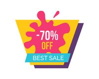 -70 Off Best Sale Label on Vector Illustration. 70 off best sale, promotional label with orange geometric form and blot with title depicted on vector Stock Image