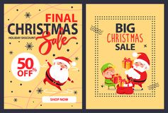 50 Off Big Final Christmas Sale Advert Poster. With merry Santa Claus leaping for joy and cartoon elf putting presents into red sack full of gifts Stock Image