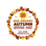 50% off big promo autumn special sale badge with autumn fall dry leaf frame vector illustration. Element for online shop web, banner, poster, flyer, sticker Royalty Free Illustration