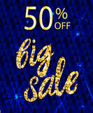 50 OFF big sale VECTOR template with handwritten gold letters. 50 OFF big sale VECTOR glittering poster template with handwritten gold letters Stock Illustration