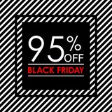 95% off. Black Friday sale and discount banner. Sales tag design template. Vector illustration. 95% off. Black Friday sale and discount banner. Sales tag design royalty free illustration