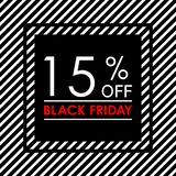 15% off. Black Friday sale and discount banner. Sales tag design template. Vector illustration. 15% off. Black Friday sale and discount banner. Sales tag design vector illustration