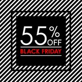 55% off. Black Friday sale and discount banner. Sales tag design template. Vector illustration. 55% off. Black Friday sale and discount banner. Sales tag design royalty free illustration
