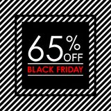 65% off. Black Friday sale and discount banner. Sales tag design template. Vector illustration. 65% off. Black Friday sale and discount banner. Sales tag design vector illustration
