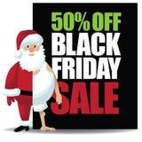 50% off Black Friday sale with half dressed santa.  Stock Photos