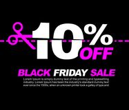 10% OFF Black Friday Sale, Promotional Poster or Sticker Design Vector Illustration. 10 OFF Black Friday Sale stock illustration