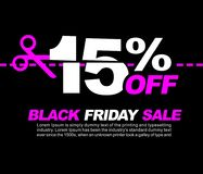 15% OFF Black Friday Sale, Promotional Poster or Sticker Design Vector Illustration. 15 OFF Black Friday Sale Royalty Free Stock Photography