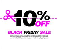 10% OFF Black Friday Sale, Promotional Poster or Sticker Design Vector Illustration. 10 OFF Black Friday Sale Royalty Free Stock Photos