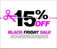 15% OFF Black Friday Sale, Promotional Poster or Sticker Design Vector Illustration. Promotional Poster or Sticker Design Vector Illustration Royalty Free Illustration