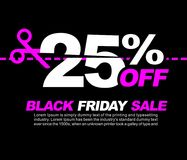 25% OFF Black Friday Sale, Promotional Poster or Sticker Design Vector Illustration Stock Photography