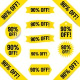 90% off sales tags. 90% off black text graphics illustrated on yellow tags on white vector illustration