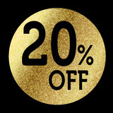 20% off. In bright gold Royalty Free Stock Images