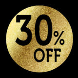 30% off. In bright gold Royalty Free Stock Photos