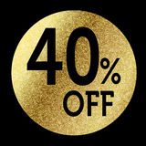 40% off. In bright gold Stock Photography