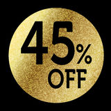 45% off. In bright gold Stock Photography