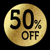 50% off. In bright gold Stock Photos