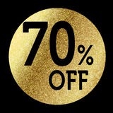 70% off. In bright gold Stock Photo