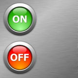 On and off button. On metal background Stock Photo