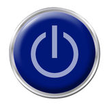 On/Off Button. Blue button with the symbol On/Off Stock Image