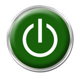 On/Off Button. Green button with the symbol On/Off vector illustration