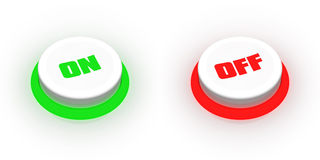 On/off buttons. A pair of buttons labeled on and off Stock Photo
