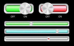 On / Off Buttons and Sliders vector illustration