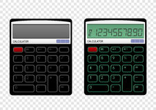 On off calculator. Turn on and off black calculator on transparent background. Modern count tool Stock Photography