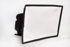 Off camera flash with diffuser Royalty Free Stock Photo