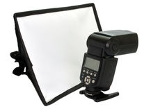 Off camera flash and white diffuser Royalty Free Stock Image