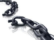 Off the Chain V. Broken heavy duty chain on white Royalty Free Stock Photos