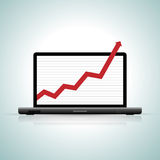 Off the Chart. Vector illustration of a laptop showing an off-the-chart graphics Stock Photography