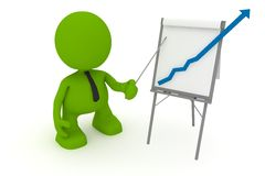 Off the Charts. Illustration of a businessman presenting at a flipchart showing a positive trend going off the chart.  Part of my cute green man series Royalty Free Stock Images