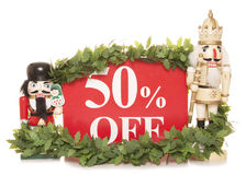 50% off christmas sale sign and nutcracker ornaments Royalty Free Stock Image