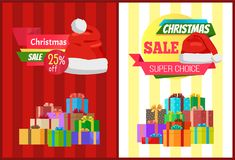 25 off Christmas Sale Super Choice Pposters Label. 25 off Christmas sale super choice posters with wrapped presents, promo label decorated by Santas hat vector Royalty Free Stock Photography
