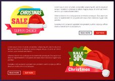 50 off Christmas Sale Web Banners Push Buttons. 50 off Christmas sale web banners with push buttons, Santa Claus hat and discount labels vector illustration Stock Photo