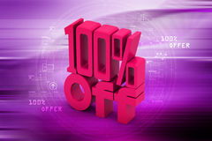 100 % off. In color background Royalty Free Stock Photo
