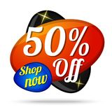 50 Off Colorful Offer Glossy Shiny Vector Icon Button. Design Stock Photos