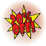 20% OFF comic explosion retro design deal tag. Follow us comic explosion with dots on white Royalty Free Stock Image