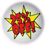 25% OFF comic explosion retro design deal tag. POP comic explosion with dots on white Royalty Free Stock Photography